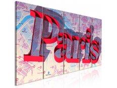 Quadro - Red Paris (5 Parts) Narrow