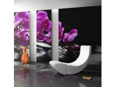 Fotomural - Relaxar momento: orquídea e pedras