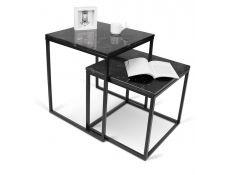 Mesa de apoio apoio tampo mármore preto + base metal preto Eiriarp III