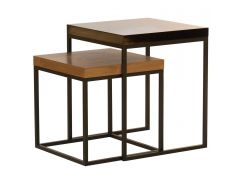 Side table walnut top + black metal base Eiriarp IIII