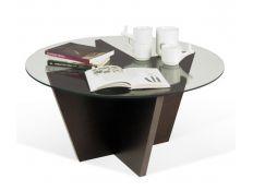 Mesa de apoio tampo de vidro+base wengé Avilo
